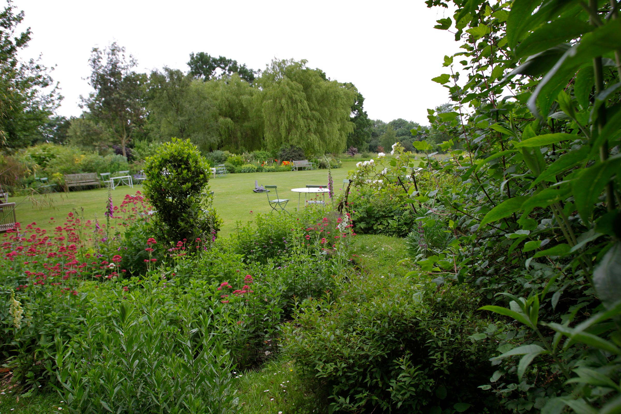 Garden, showing lawn and tables from the flower bed.